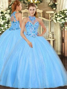 Sleeveless Floor Length Embroidery Lace Up Vestidos de Quinceanera with Baby Blue