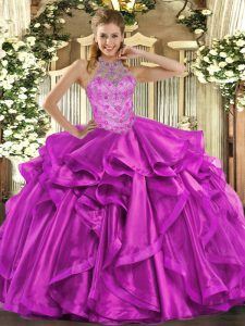 New Style Fuchsia Lace Up Quinceanera Gown Beading and Embroidery and Ruffles Sleeveless Floor Length