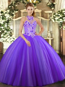 High Quality Purple Ball Gowns Embroidery Quinceanera Dress Lace Up Tulle Sleeveless Floor Length