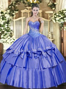 Low Price Organza and Taffeta Sweetheart Sleeveless Lace Up Beading and Ruffled Layers Quince Ball Gowns in Blue
