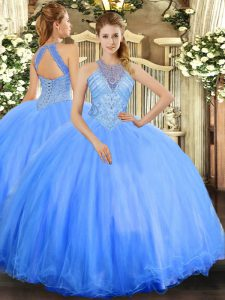 Sleeveless Tulle Floor Length Lace Up Quinceanera Gowns in Blue with Beading
