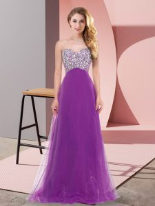 Floor Length Purple Dress for Prom Tulle Sleeveless Beading