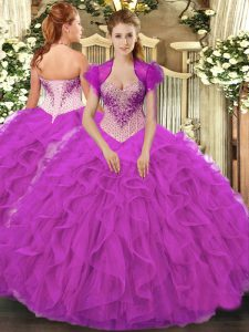 Captivating Sleeveless Floor Length Beading and Ruffles Lace Up Quince Ball Gowns with Fuchsia