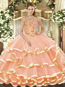 Peach Organza Lace Up Halter Top Sleeveless Floor Length Quinceanera Dress Beading and Embroidery