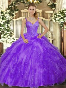 Latest V-neck Sleeveless Tulle Vestidos de Quinceanera Beading and Ruffles Lace Up