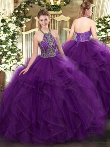 Gorgeous Tulle Sleeveless Floor Length Vestidos de Quinceanera and Beading and Ruffles