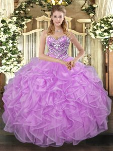 Tulle Sweetheart Sleeveless Lace Up Beading Quinceanera Gowns in Lilac