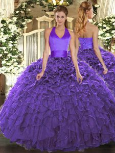 Halter Top Sleeveless 15th Birthday Dress Floor Length Ruffles Purple Organza