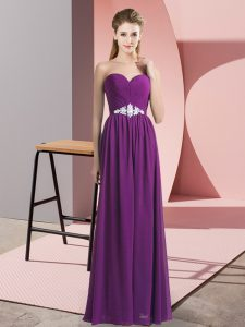 Best Purple Empire Beading Prom Evening Gown Lace Up Chiffon Sleeveless Floor Length