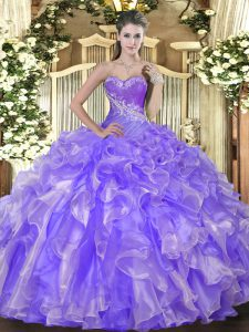 Classical Lavender Lace Up Sweetheart Beading and Ruffles 15th Birthday Dress Organza Sleeveless