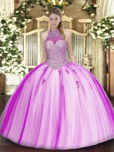 Sexy Fuchsia Ball Gowns Tulle Halter Top Sleeveless Beading and Appliques Floor Length Lace Up Sweet 16 Dresses