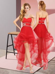 Red Sleeveless High Low Beading Lace Up