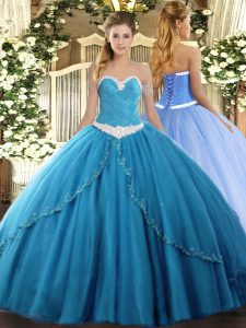 Ball Gowns Sleeveless Baby Blue 15 Quinceanera Dress Brush Train Lace Up