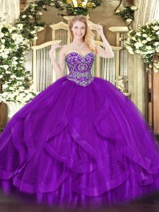Sweetheart Sleeveless Tulle Quinceanera Gowns Ruffles Lace Up