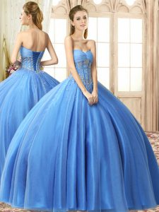 Sweet Sleeveless Tulle Floor Length Lace Up Quinceanera Gowns in Baby Blue with Beading
