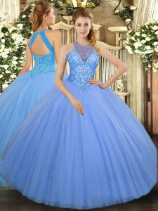 Extravagant Floor Length Ball Gowns Sleeveless Light Blue Quinceanera Gown Lace Up
