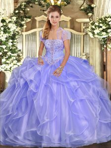 Romantic Sleeveless Appliques and Ruffles Lace Up Sweet 16 Dress