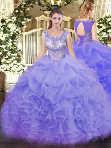 Lavender Sleeveless Beading and Ruffles and Pick Ups Floor Length Ball Gown Prom Dress