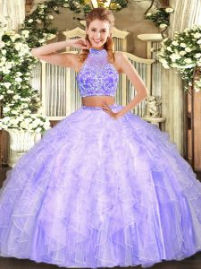 Floor Length Two Pieces Sleeveless Lavender Sweet 16 Quinceanera Dress Criss Cross