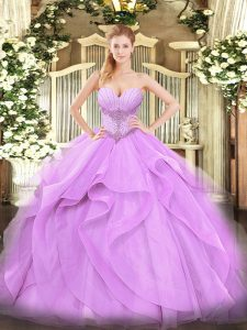 Most Popular Sleeveless Floor Length Beading and Ruffles Lace Up Quinceanera Gown with Lavender