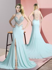 Adorable Aqua Blue Chiffon Zipper High-neck Sleeveless Dress for Prom Sweep Train Beading