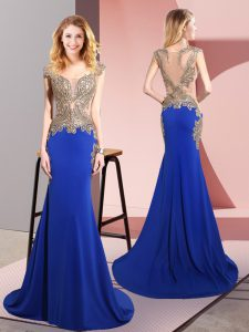 Designer Royal Blue Elastic Woven Satin Side Zipper Prom Party Dress Sleeveless Sweep Train Beading
