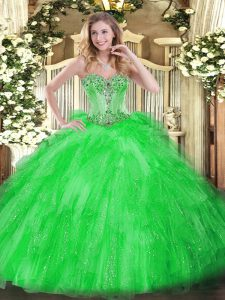 Floor Length Green Quinceanera Dress Tulle Sleeveless Beading and Ruffles