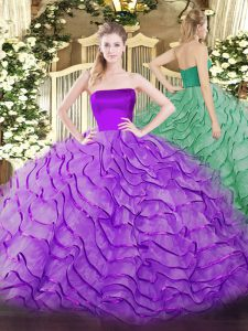 Deluxe Tulle Sleeveless 15 Quinceanera Dress Brush Train and Ruffles