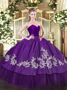 Purple Sleeveless Organza and Taffeta Zipper Vestidos de Quinceanera for Military Ball and Sweet 16 and Quinceanera