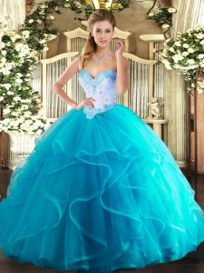 Aqua Blue Sweetheart Lace Up Beading and Ruffles Sweet 16 Dresses Sleeveless
