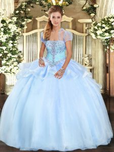 Romantic Light Blue Quinceanera Gowns Military Ball and Sweet 16 and Quinceanera with Appliques Strapless Sleeveless Lace Up