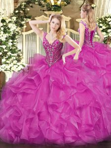 Floor Length Fuchsia Quinceanera Gown Organza Long Sleeves Beading and Ruffles