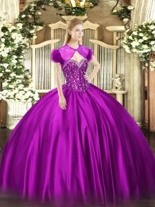 Floor Length Lace Up 15th Birthday Dress Fuchsia for Military Ball and Sweet 16 and Quinceanera with Beading