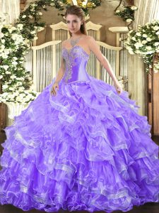 Clearance Sleeveless Beading and Ruffled Layers Lace Up Quinceanera Dress