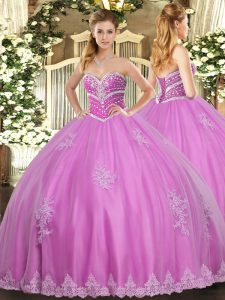 Sumptuous Sleeveless Tulle Floor Length Lace Up Quinceanera Gown in Rose Pink with Beading and Appliques