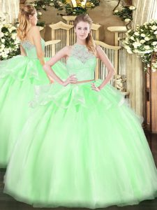 Fitting Apple Green Tulle Zipper Scoop Sleeveless Floor Length Sweet 16 Quinceanera Dress Lace
