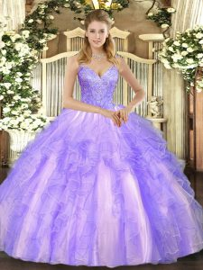 Trendy Lavender Sleeveless Beading and Ruffles Floor Length Sweet 16 Quinceanera Dress