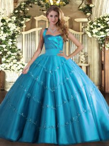 Flirting Appliques Quince Ball Gowns Baby Blue Lace Up Sleeveless Floor Length