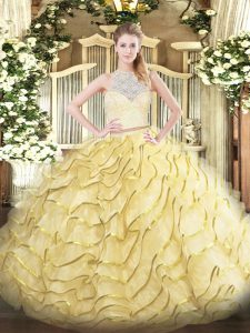 Simple Tulle Scoop Sleeveless Brush Train Zipper Lace and Ruffles 15 Quinceanera Dress in Gold