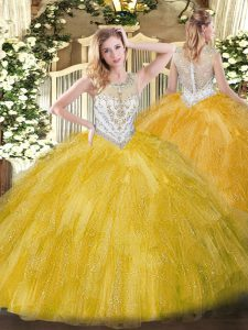 Glorious Ball Gowns Quinceanera Gowns Gold Scoop Tulle Sleeveless Floor Length Zipper