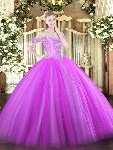 Fantastic Sleeveless Tulle Floor Length Lace Up Vestidos de Quinceanera in Lilac with Beading