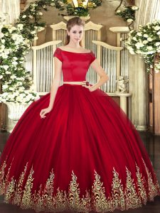 Wine Red Off The Shoulder Neckline Appliques Sweet 16 Dresses Short Sleeves Zipper