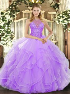 Ideal High-neck Sleeveless 15 Quinceanera Dress Floor Length Beading and Ruffles Lavender Organza