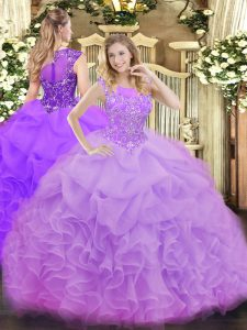 Hot Selling Sleeveless Floor Length Beading and Ruffles and Pick Ups Zipper Vestidos de Quinceanera with Lavender