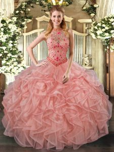 Custom Design Sleeveless Beading and Embroidery and Ruffles Lace Up Ball Gown Prom Dress