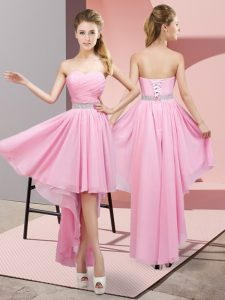 Pink A-line Beading Prom Dresses Lace Up Chiffon Sleeveless High Low