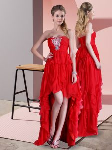 Beading Evening Dress Red Lace Up Sleeveless High Low Sweep Train