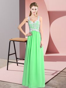 Low Price Apple Green Chiffon Zipper Dress for Prom Sleeveless Floor Length Lace