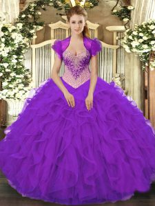 Elegant V-neck Sleeveless Sweet 16 Dress Floor Length Beading and Ruffles Purple Organza