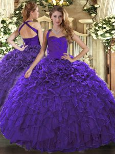 Superior Purple Halter Top Neckline Ruffles Sweet 16 Dress Sleeveless Lace Up
